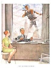 "Norman Rockwell 1960's Skyscraper print: ""THE WINDOW WASHER""  11"" x 15"" mad men"