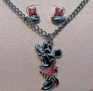 Minnie Mouse pendant & Earring set Genuine Disney UK SELLER NEW silver necklace