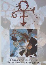 "Prince ""Chaos And Disorder"" Uk Promo Poster - Symbol & Album Artwork"
