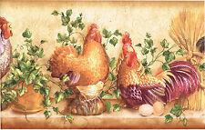 Golden Tuscan Chicken Roosters Bird Wheat Ivy Kitchen Shelf Wall paper Border