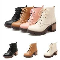 Women Lace Up Shoes Combat Army Boots Camo Platform High Heels Ankle Boot Ch18 f