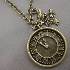 Alice in Wonderland Antique Gold Bronze Clock Watch with Rabbit Necklace Kitsch