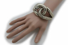 Women Gold Metal Cuff Bracelet Fashion Jewelry Wide Snake Cobra Wrap Around Cool