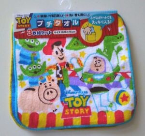 3pc Japan Disney toy story mini size hand towel handkerchief kid 100% cotton