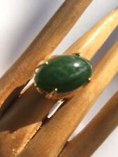 R13 antiqu JADEITE RING natural un-treated DEEP GREEN size 7 sterling/14k c.1900