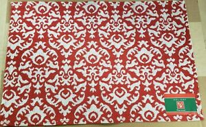 "Set of 4 Tapestry Placemats, 13"" x 19"", RED & WHITE ABSTRACT DESIGN, HC"