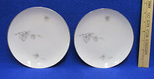 Sone China Bread & Butter Plates Set 2 Silver Maple Leaf on White Silver Trim