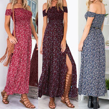 Casual Womens Off Shoulder Boho Floral Split Long Maxi Evening Party Beach Dress