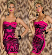 vestito mini abito da sera Shape-Up Bodycon cocktail fucsia nero L