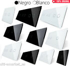Paneles de cristal vidrio EU Livolo 1 gang 2 gang- 1 doble- blanco negro LUJO