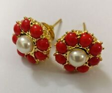 Gold Fashion red pearl Women Teen Indian Handmade stud round floral  earrings