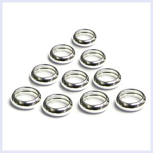 10pc. Sterling Silver Ring Space Spacer Bead For European Story Charm Bracelet