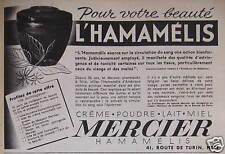 PUBLICITÉ POUR VOTRE BEAUTÉ L'HAMAMÉLIS MERCIER CRÈME POUDRE LAIT MIEL