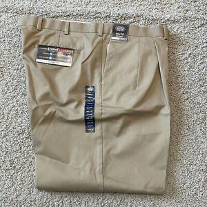 Roundtree & Yorke Travel Smart Chino Pants Pleated Cuffed Slacks Pick Size Color