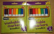 New 2x Schoolio 8ct Broad Line Tip Washable Markers - Classic Colors 16ct Total