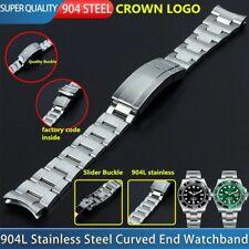 20 mm 904L Steel Curved End Watch Band Fit For Rolex Submariner Bracelet