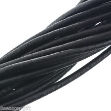 10M Black Round Real Leather Jewelry Cord 3mm