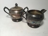Vintage Silverplate Sugar Bowl & Creamer, 1883 FB Rogers Silver Co. #1202