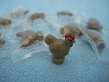 Lego Tiere 10 Stück Hühner Henne Huhn dunkelbeige dark tan  95342pb01  Neu