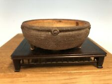 "Handmade Unknown Japanese Shohin Or Mame Size Bonsai Tree Pot 4 1/2"" Drum"