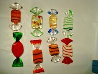 Vintage 8 Pieces of Murano Style Art Blown Glass Wrapped Candy