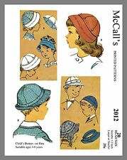 "Vintage McCall's Children's Button On Hats Fabric Sewing Pattern Sz 20"" #2012"