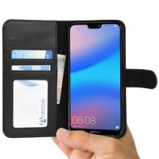 Black Wallet Case Flip Cover w/ Stand for Huawei P20 Lite - by Abacus24-7