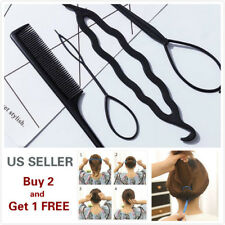 4Pcs Hair French Braid Topsy Tail Clip Magic Styling Stick DIY Bun Maker Tool