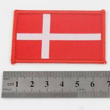 DENMARK IRON ON 6.5cm x 4cm EMBROIDERED NATIONAL FLAG DANISH PATCH BADGE 070