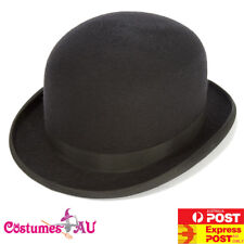 Mens Bowler Derby Hat Felt Black Charlie Chaplin 50s 60s Party Adult Blend Cap