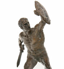 BRONZE STATUE KRIEGER ALLEGORIE der ANTIKE - MALE WARRIOR with DAGGER and SHIELD