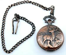Moose Deer with Dogs Pocket Watch Quartz Working Condition Coppertone with Chain