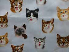 CATS Fabric Fat Quarter Cotton Craft Quilting - CAT SELFIES Laughing Smiling
