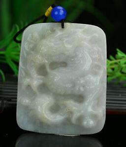 Cert'd Untreated Green Natural Grade A Jadeite Jade Pendant dragon 004161