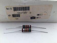 (10 pcs) OA51GK Ohmite, 1 Watt 5.1 Ohm 10%, Carbon Composition Resistor (Axial)
