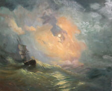 Seascape oil painting ship signed