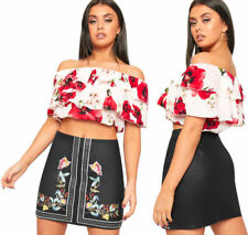 Polyester Machine Washable Floral Mini Skirts for Women