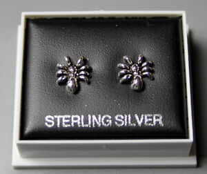 STERLING SILVER 925 STUD EARRINGS SPIDER 9mm x 7mm  BUTTERFLY BACKS BOXED ST 07