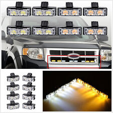 8 X 2-LED Amber&White Car Off-Road Grille Emergency Strobe Lights Flashing Lamps