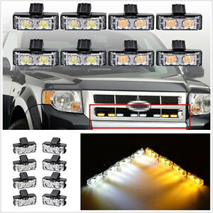 8 X 2-LED Amber+White Car Off-Road Grille Emergency Strobe Light Flashing Lamp