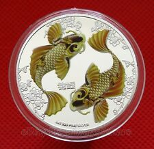 Lucky Double Koi Colored Silver Plated Commemorative Feng Shui Coin Token