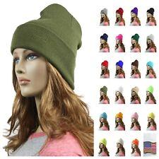 Men Women Plain Slouchy Knit Cuff Beanie Cap Ski Winter Cap Skull Unisex Hat