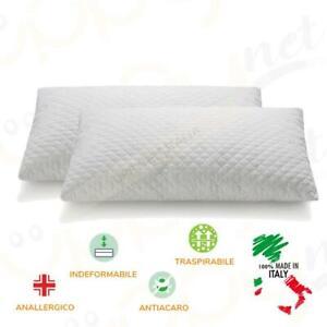 Coppia di cuscini in fiocchi Viscoelastico Memory Aloe trapuntato morbido 70x45