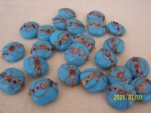 Lot de 4 perles en pate de verre. perles anciennes de Murano. Bleu ciel. N°7