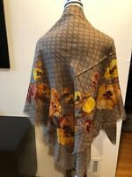 NEW Gucci Floral & GG Logo Wool  Multicolor Scarf  Scarves Wrap