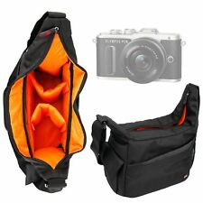 Black & Orange Durable Shoulder Sling Bag for Olympus E-PL8 Camera