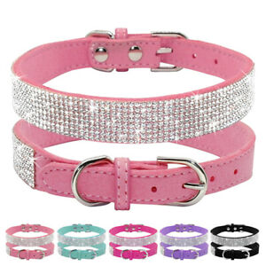 Bling Rhinestone Pet Dog Collars Soft Suede Leather Puppy Cat Necklace Pink Blue