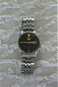 SEIKO 5 Automatic wrist watch 6309-7320 Serial 538475 Stainless Steel black dial