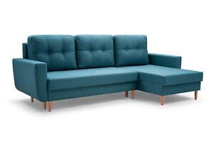 Blau Ecksofa ONLY mit Schlaffunktion und Bettkasten universelle Ottomane Couch
