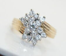 Vintage Women's 14K Gold .50 Ct Diamond  Cluster Ring Size 7.75